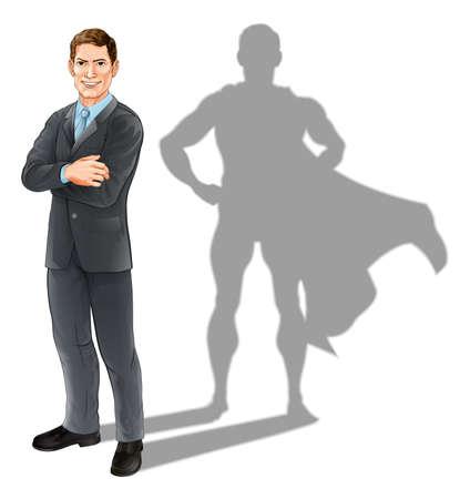 Heldenzakenman concept illustratie van een zelfverzekerde knappe business man die met zijn armen gevouwen met superhelden schaduw