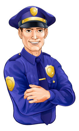 A happy handsome standing police officer policeman character with his arms folded