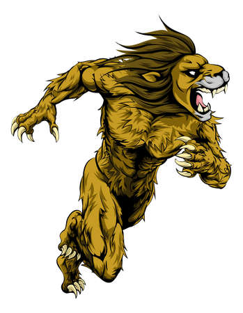 hostile: A lion man character or sports mascot charging, sprinting or running Illustration