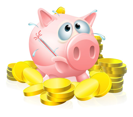 Poorly piggy bank concept, a piggy bank surrounded by gold coins sweating with a fever and causing a thermometer to burst
