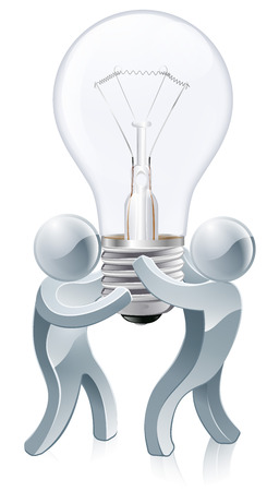 Light bulb people concept of two silver mascots using teamwork to carry a lightbulb. Could be a concept for collaborative thinking. Vector