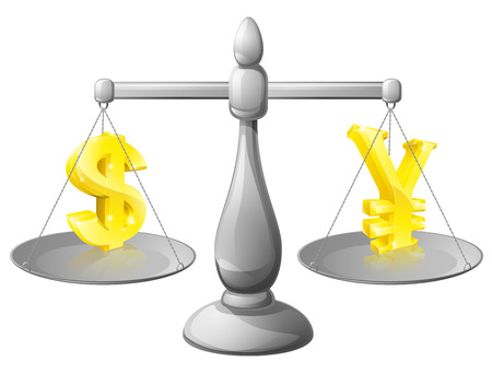 foreign exchange: Scales currency concept, foreign exchange forex concept, dollar and Yen signs on scales being weighed against each other