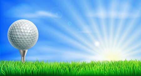 cartoon ball: A golf ball on its tee in a green grass field golf course with sun rising. Illustration