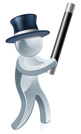 Magician with a wand and a top hat illustration Vector