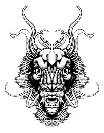 cabeza de dragon: Una ilustraci�n original de una cabeza de drag�n en un estilo del woodblock del vintage