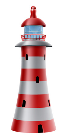An illustration of a red and white striped lighthouse Illustration