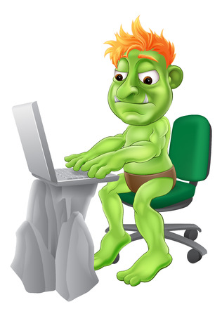 trolling: An illustration of a green monster troll character typing on their laptop. Concept for an internet troll