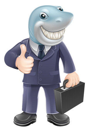 An illustration of a shark business man giving a thumbs up. Concept for unscrupulous or dangerous business person. Vector