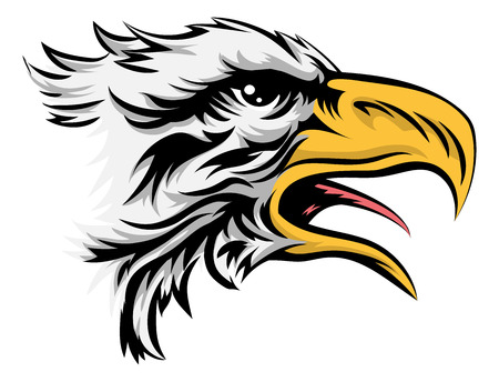 A drawing of a stylised bald eagle bird animal head Vector