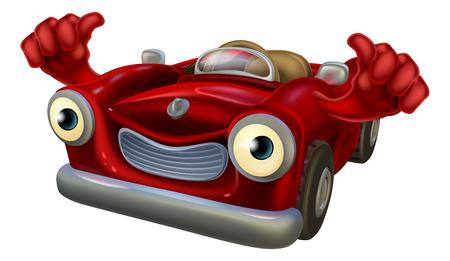 convertible car: Car�cter auto convertible de dibujos animados con una cara feliz dando un pulgar hacia arriba Vectores