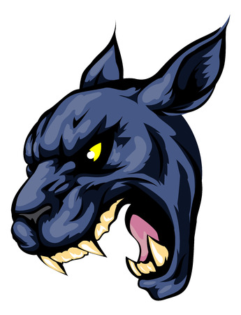 fierce: An illustration of a fierce black panther animal character or sports mascot Illustration