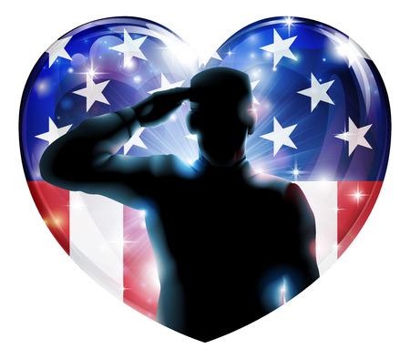 salut: Illustration av en hjärtform veterandagen eller 4 juli självständighetsdagen av en soldat salutera framför amerikanska flaggan