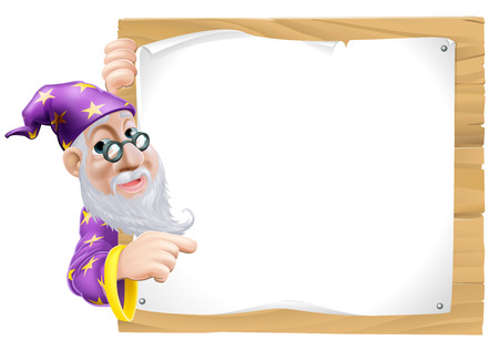 Friendly cartoon wizard with a beard peeking round and pointing at a blank sign Vector
