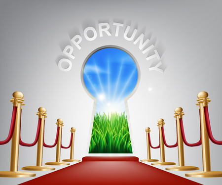 opportunity: Opportunity Door Keyhole. Concept of a keyhole with a new dawn over verdant landscape and red carpet and ropes leading up to it.