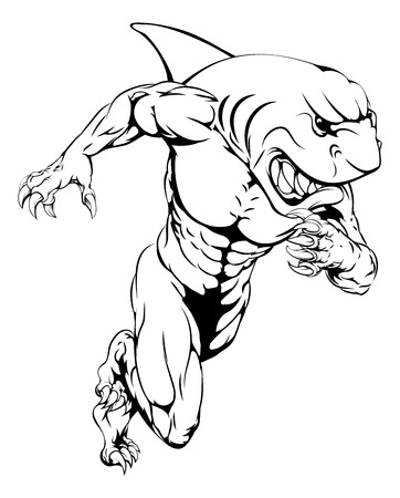 hostile: A shark man character or sports mascot charging, sprinting or running