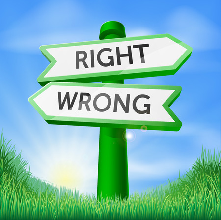 Right or wrong sign in a sunny green field of lush grass Vector