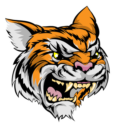 fierce: An illustration of a fierce tiger animal character or sports mascot Illustration