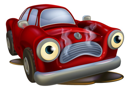 broken down: A sad cartoon car mascot in need of a mechanic or garage