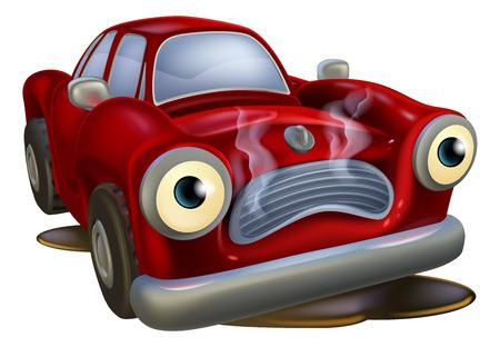 �nerv�e: Une mascotte de voiture de bande dessin�e triste dans le besoin d'un m�canicien ou garage