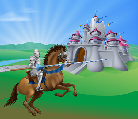 An illustration of a jousting knight with lance on his horse and a fantasy fairytale medieval castle in a landscape of a field of rolling hills Illustration