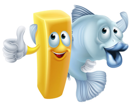 fish and chips: Pescado y patatas fritas amigos concepto de dibujos animados de un chip o francés carácter alevines y peces brazo personaje en el brazo