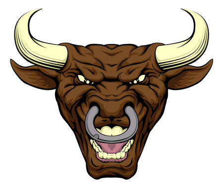 nose ring: An illustration of a tough looking bull animal sports mascot or character Illustration