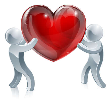 People holding giant heart concept illustration. Two silver people holding a big heart or one passing it to the other Vector