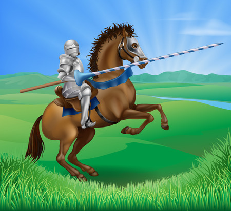 A blue medieval knight in armor riding on horseback on a brown horse holding a jousting lance in green field of grass Illustration