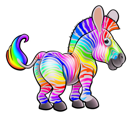 An illustration of a cute happy multicolored rainbow zebra character Vector