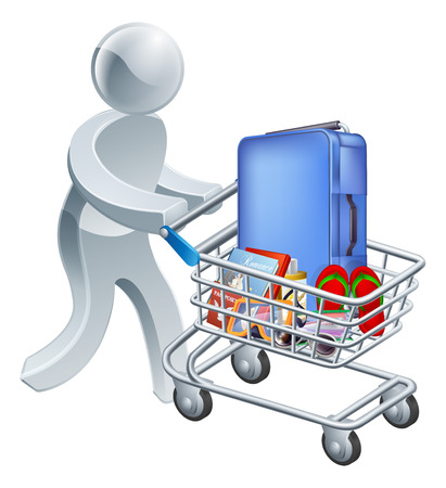 Shopping for a vacation concept, a person pushing a shopping cart trolley full of tropical holiday vacation items
