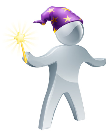 An illustration of a wizard person holding a wand and wearing a purple hat with stars Vector