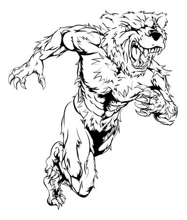 sprinting: A bear man character or sports mascot charging, sprinting or running