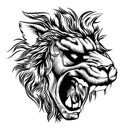 An original illustration of a roaring lion in a vintage woodcut style Vector