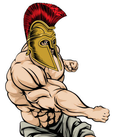 muscular men: A tough muscular Spartan mascot character in a fight punching