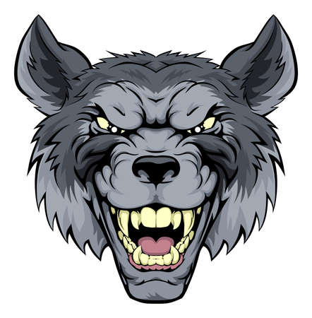 growling: A mean looking wolf mascot character growling