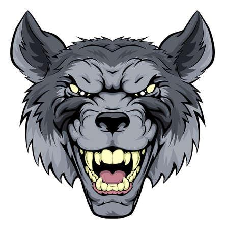 cliparts: Een gemiddelde op zoek wolf mascotte karakter grommen