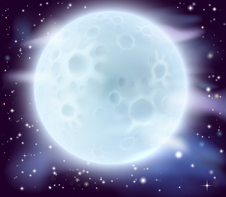 ful: A cartoon illustration of a large glowing full moon