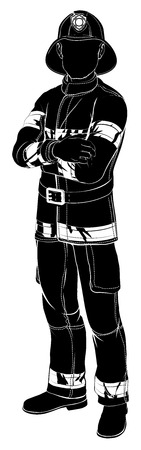 An illustration of a fireman or fire fighter standing with arms folded in silhouette Vector