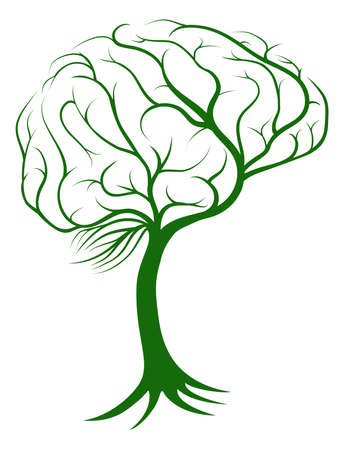 tree shape': Brain tree concept of a tree with roots growing in the shape of a brain Illustration