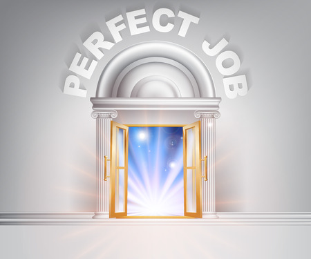 Perfect Job door concept of a fantastic white marble door with columns with light streaming through it. Vector