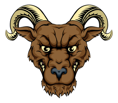 bighorn: Ram mascot illustration of a tough ram sports mascot or character