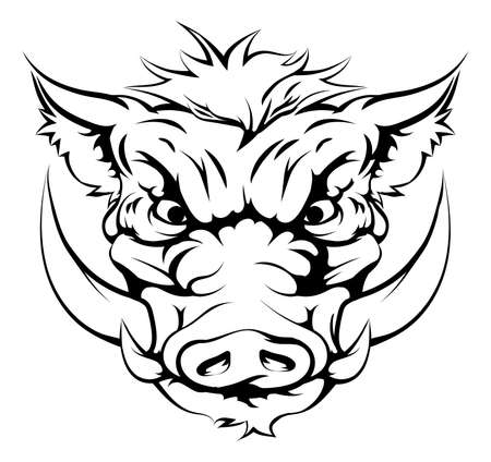 snarling: Drawing of a boar animal character or sports mascot Illustration