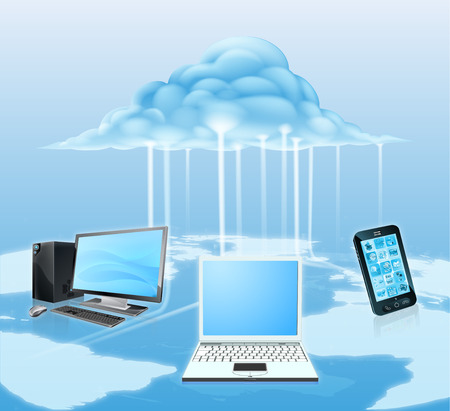 Illustration of media devices like mobile phone, laptop and desktop computer connected to the cloud. Technology concept for the cloud, using it for storage computing or similar