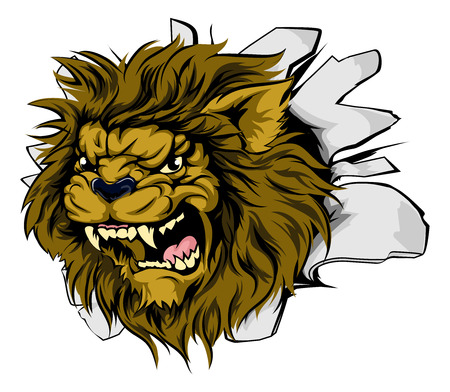 lion roar: Lion sports mascot breakthrough concept of a lion sports mascot or character breaking out of the background or wall
