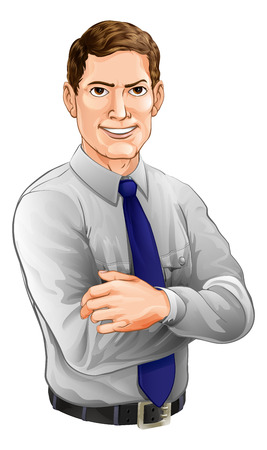 folded hands: An illustration of a handsome man with arms folded wearing a shirt and tie Illustration