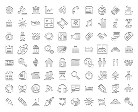 A set of white stamp style media and web icons  Illustration