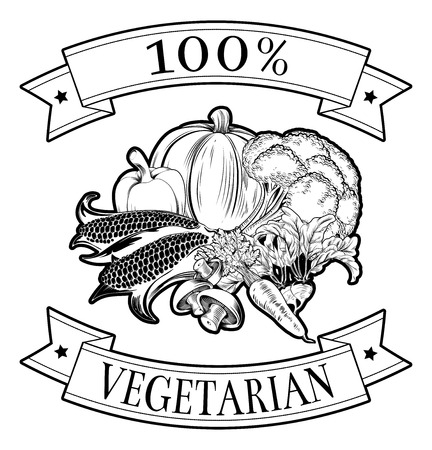 grocer: 100 percent vegetarian food icon of vegetables in a stamp style