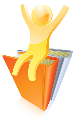 A gold person on top of books with their arms raised up  Vector