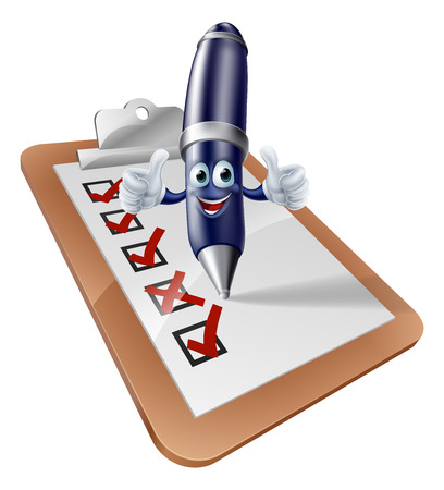 web survey: A cartoon pen person writing on a clipboard or completing a survey or other form Illustration