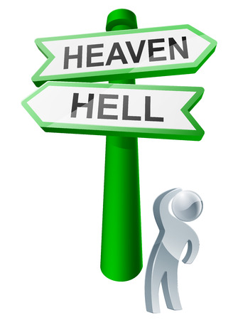 A man considering his options by looking up at a sign reading heaven or hell Vector